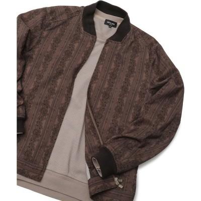 ジャケット MA-1 麻調エスニックストライプ スウィングトップブルゾン