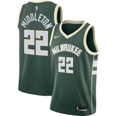 ナイキ メンズ シャツ トップス Nike Men's Milwaukee Bucks Khris Middleton #22 Green Dri-FIT Icon Swingman Jersey