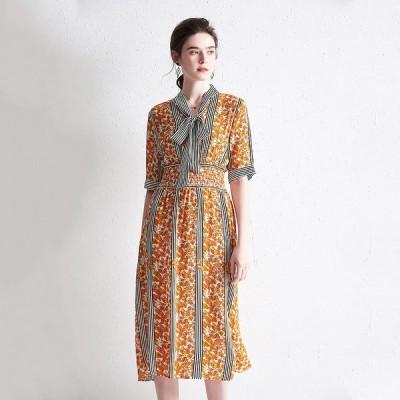 パーティドレス ♪セレブファッション 100%シルク!Aラインワンピース 夏新作 ロング丈 品のある花模様で大人の魅力を演出 他と被らない 【送料無料】
