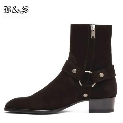 リングブーツ ハーネスブーツ メンズ ワイアット バックル リングストラップ スエード調 色:ブラック サイズ:24.5cm 男性 チェルシーブーツ 送料無料