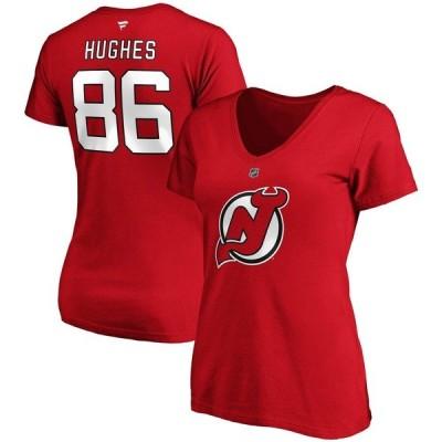 ファナティクス Tシャツ トップス レディース Jack Hughes New Jersey Devils Fanatics Branded Women's Authentic Stack Name & Number V-Neck T-Shirt Red