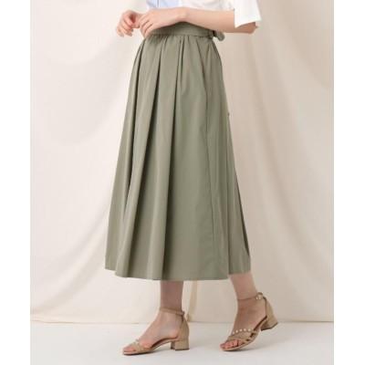【クチュールブローチ】 タックリボンタイプライターフレアスカート レディース オリーブグリーン 38(M) Couture Brooch