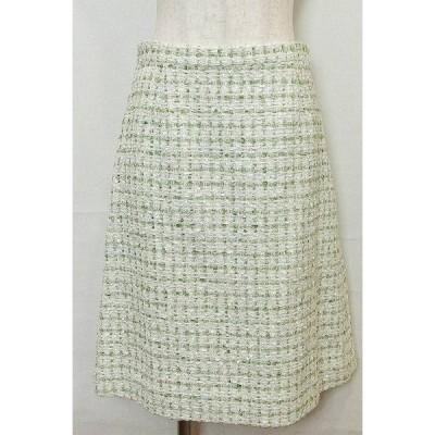 SALE! LINTON ツイードスカート  38 グリーン/ホワイト