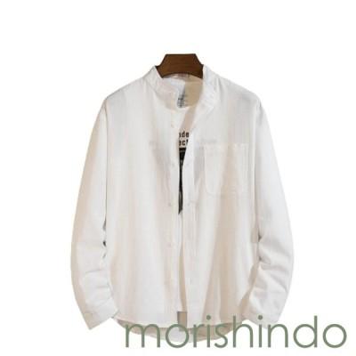 アロハシャツ カジュアルシャツ M ホワイト 無地 大きいサイズ 長袖 前開き メンズ ハワイ風 春秋服 ビーチシャツ プリントシャツ