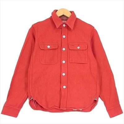 フェローズ PHERROW'S ワーク シャツ ヘビー コットン 厚手 赤 ロングスリーブ 長袖シャツ レッド系 34 【中古】