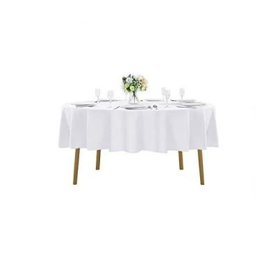 70インチ 円形テーブルクロス 洗濯可能 ポリエステル テーブルクロス 装飾テーブルカバー ウェディングパーティー ダイニング宴会用 70インチ ホワ