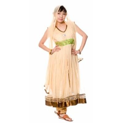 【送料無料】 パンジャビ ドレス3点セット クリーム / インド パンジャビドレス パンジャービードレス サルワール カミーズ 民族衣装 レ