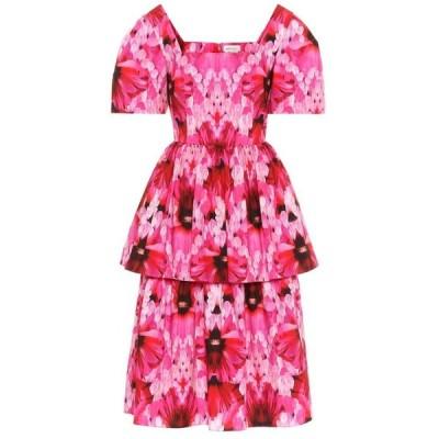 アレキサンダー マックイーン Alexander McQueen レディース ワンピース ミドル丈 ワンピース・ドレス floral cotton-poplin midi dress Orchid Pink