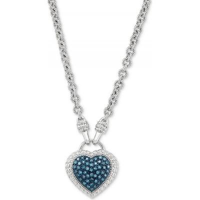 """メイシーズ Macy's ユニセックス ネックレス ハート Teal Diamond Heart 17"""" Pendant Necklace (1/4 ct. t.w.) in Sterling Silver Sterling Silver"""