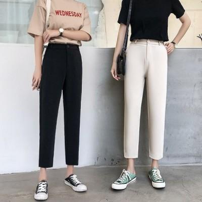 全2色 パンツ 体型カバー 着痩せ ハイウエスト ワイドパンツ バギーパンツ ストレッチ 無地 原宿系