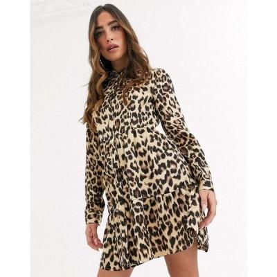 ミスガイデッド Missguided レディース ワンピース シャツワンピース ワンピース・ドレス button front shirt dress in leopard マルチカラー