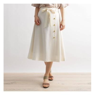 【グローブ/grove】 麻調金釦使い共ベルト付きスカート