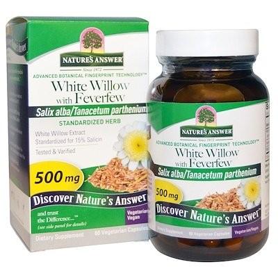 ホワイトウィローとナツシロギク、 500 mg、 60ベジキャップ