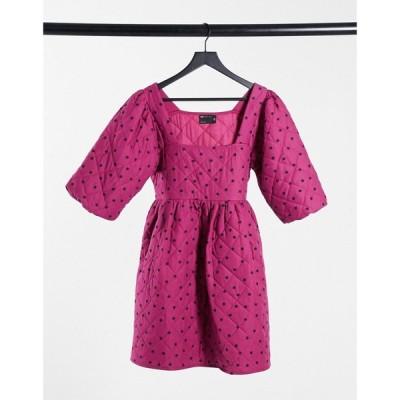 エイソス ASOS DESIGN レディース ワンピース ミニ丈 ワンピース・ドレス square neck quilted mini smock dress with puff sleeves in polka dot ポルカドット