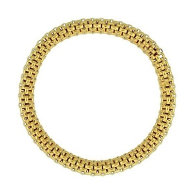 Sterling Silver Flexible Bracelet Textured Yellow Gold Finish, 7-8 inches L