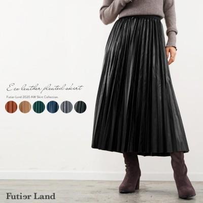 プリーツスカート エコレザー 合皮 スカート フェイクレザースカート ボトム 韓国 エコレザープリーツスカート