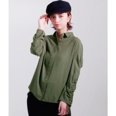 セッティミッシモ(Settimissimo)/ドローストリングスリーブバックギャザーデザインシャツ