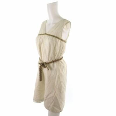 【中古】トッカ TOCCA ワンピース ロング ノースリーブ 総柄 ビジュー 装飾 スパンコール オフホワイト 白 ベージュ シルク 0