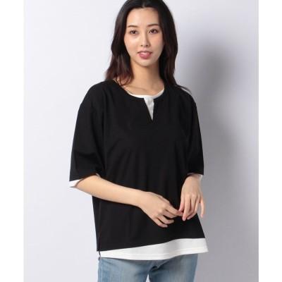 Ranan 接触冷感レイヤード風Tシャツ(ブラック)