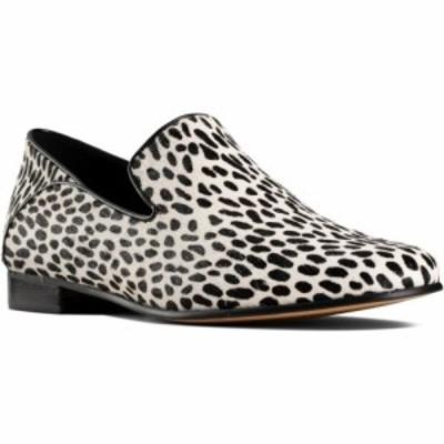 クラークス CLARKS レディース スリッポン・フラット シューズ・靴 Pure Viola Flat Black/White Interest Leather