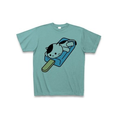 アイスキャンディの上のねこ Tシャツ(ミント)