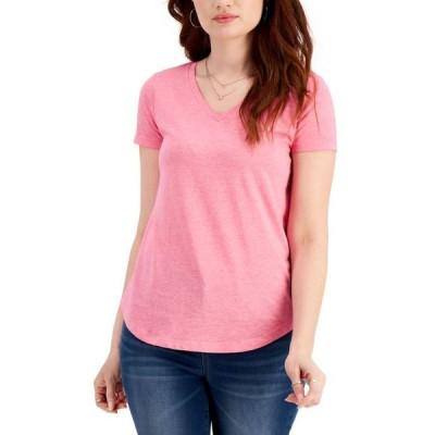 スタイルアンドコー レディース シャツ トップス Plus Size Solid Burnout T-Shirt