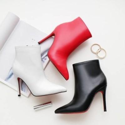 レザー 着痩せ  ピンヒール 履きやすい 流行 痛くない 韓国ファッション ヒール ブーティー 内ジッパー付き ショートブーツ 美脚 上品
