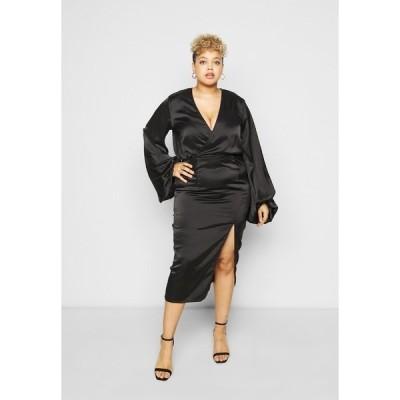 ミスガイデッド ワンピース レディース トップス BALLOON SLEEVE WRAP FRONT DRESS - Day dress - black