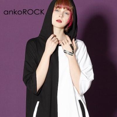 ankoROCK アンコロック ビッグ Tシャツ メンズ カットソー レディース 半袖 アシンメトリー モノクロ