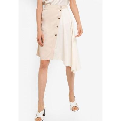 ザローラ ZALORA レディース ひざ丈スカート スカート Button Down Mix Fabric Asymmetric Skirt Stone/Off White