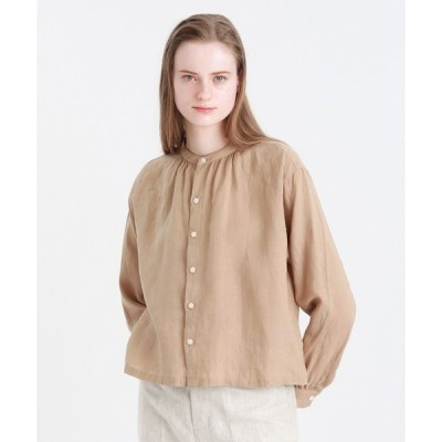 シャツ ブラウス リネンバンドカラーシャツ