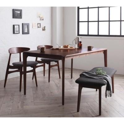 北欧デザイナーズダイニングシリーズ Spremate 4点Bセット テーブル+チェアB×2+ベンチ B アイボリー ベンチ ダークグレー
