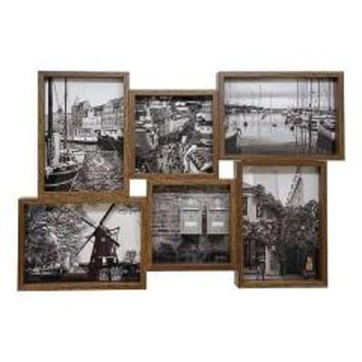 フォトフレーム 6枚 多面 壁掛け 卓上 写真立て ブラウン ( フォトスタンド 写真フレーム 写真たて 6面 置き掛け両用 フレーム 中台紙付き おしゃれ 壁 デスク 机 つくえ 棚 ディスプレイ )