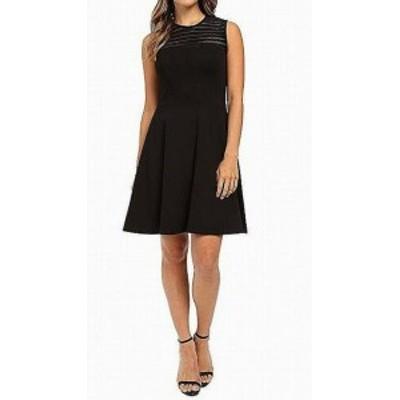 Shoshanna ショーシャンナ ファッション ドレス Shoshanna Womens Jet Black Size 0 Lace-Yoke Ponte Knit A-Line Dress