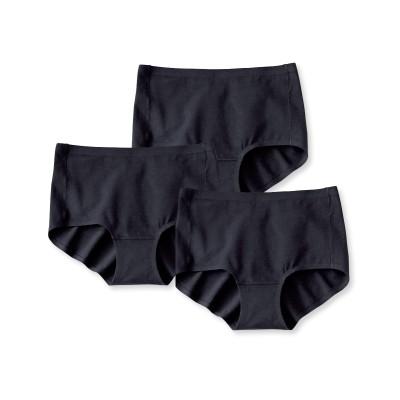 アウターにひびきにくい。綿混ストレッチ深ばきショーツ3枚組 スタンダードショーツ, Panties