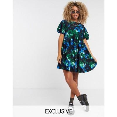 コルージョン Collusion レディース ワンピース COLLUSION textured smock dress with curved asymmetric seam in floral print マルチカラー