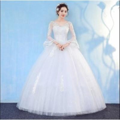 プリンセスライン♪ 白 素敵 ウエディングドレス レース ロングドレス ブライダル ワンピース 冠婚 ロング丈ワンピース 綺麗 結婚式 花嫁