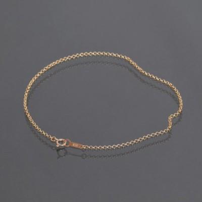 ブレスレット チェーン 18金 ピンクゴールド ロールチェーン 幅1.7mm 長さ15cm 鎖 K18PG 18k 貴金属 ジュエリー レディース メンズ