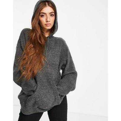ヴァイオレット ロマンス レディース パーカー・スウェットシャツ アウター Violet Romance knitted hoodie in gray Grey