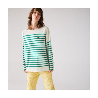 LACOSTE/ラコステ ワイドシルエットパネルボーダーTシャツ ホワイト×エメラルドグリーン L