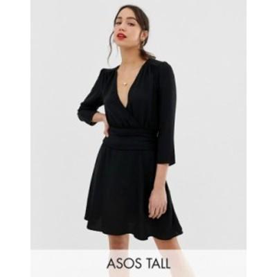 エイソス レディース ワンピース トップス ASOS DESIGN Tall wrap mini dress with ruched skirt Black