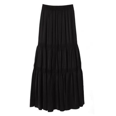 エイミーイストワール eimy istoire シャイニーギャザーティアードスカート (BLACK)