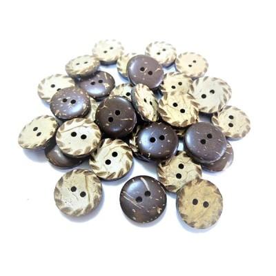 ボタン 手芸 素材椰子 ココナッツ 柄入り 約15mm 表 2穴 ココナッツ ボタン 12個入り