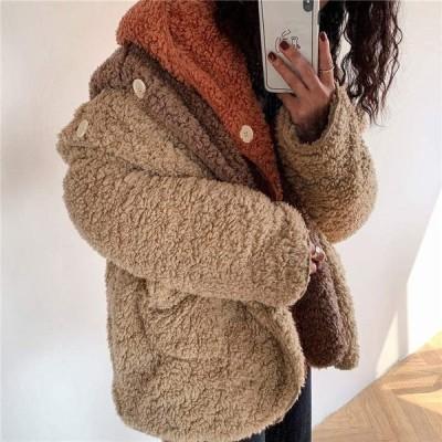 コート あったか 厚手 冬 フード付き 暖かい ふわふわ 秋 防寒 ゆったり 一つボタン フェイクムートンアウター レディース リバーシブルコート かわいい