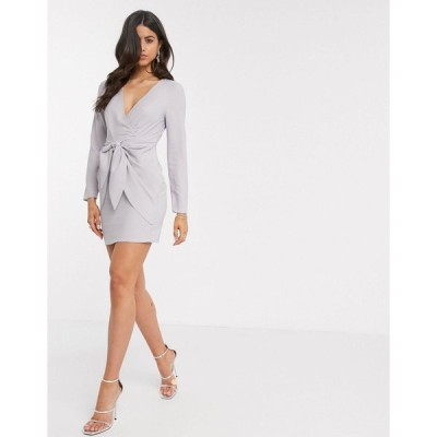 エイソス ミニドレス レディース ASOS DESIGN wrap front mini dress with knot skirt detail in grey エイソス ASOS シルバー 銀