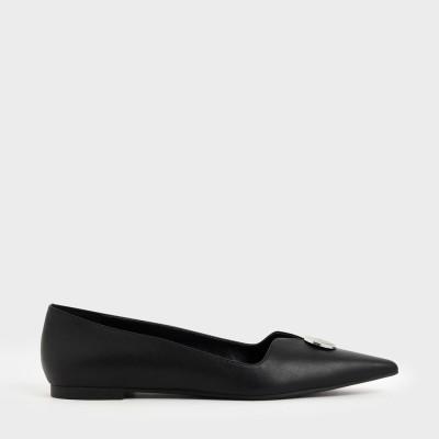 【再入荷】ボタンディティール バレリーナフラット / Button Detail Ballerina Flats (Black)