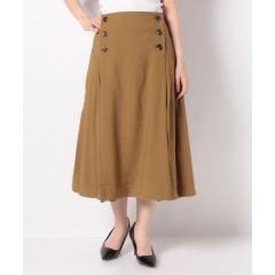STYLEBLOCK(スタイルブロック)ファイユ前ボタンミモレ丈プリーツスカート