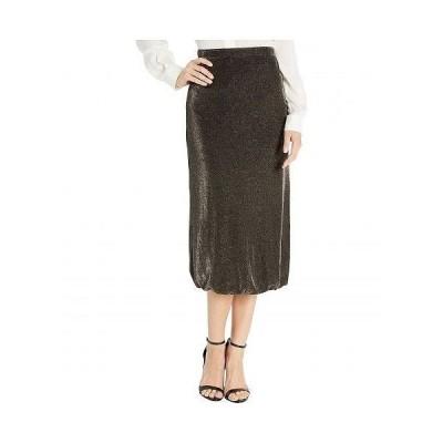 WAYF レディース 女性用 ファッション スカート Lauren Twist Hem Midi Skirt - Black/Gold Lurex