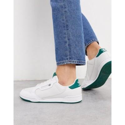アディダスオリジナルス メンズ スニーカー シューズ adidas Originals Continental 80 sneakers in white with green tab White