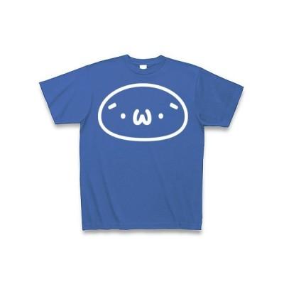 (´・ω・`)(白インク) Tシャツ Pure Color Print(サムライブルー)